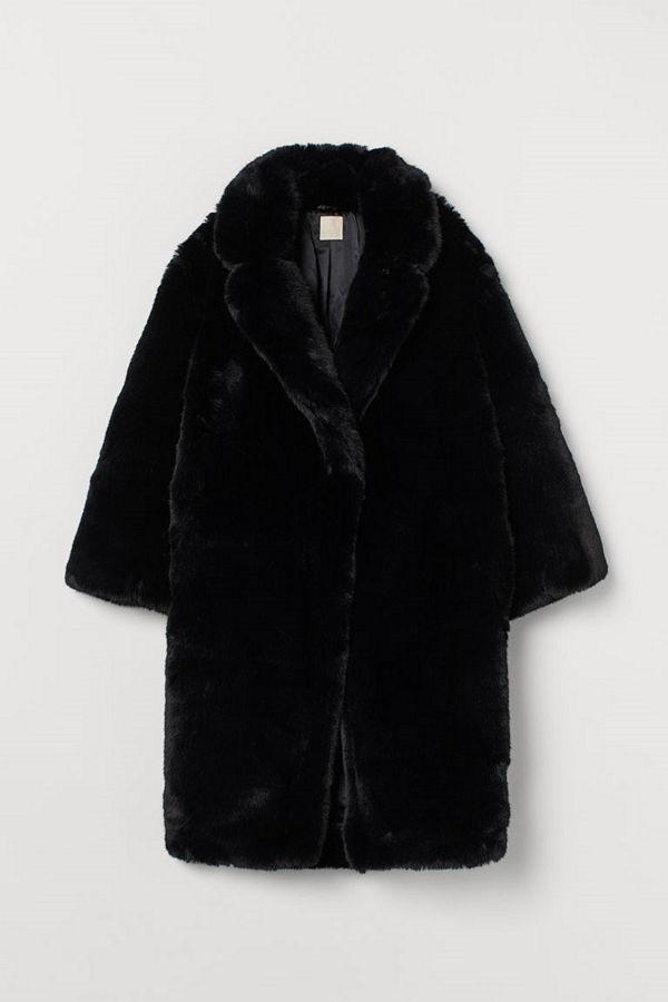 H&M Kappa i fuskpäls svart