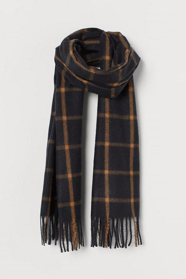 H&M Rutig scarf svart