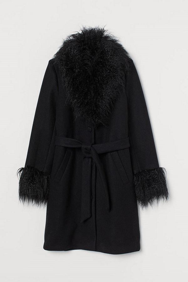 H&M Kappa med fuskpäls svart