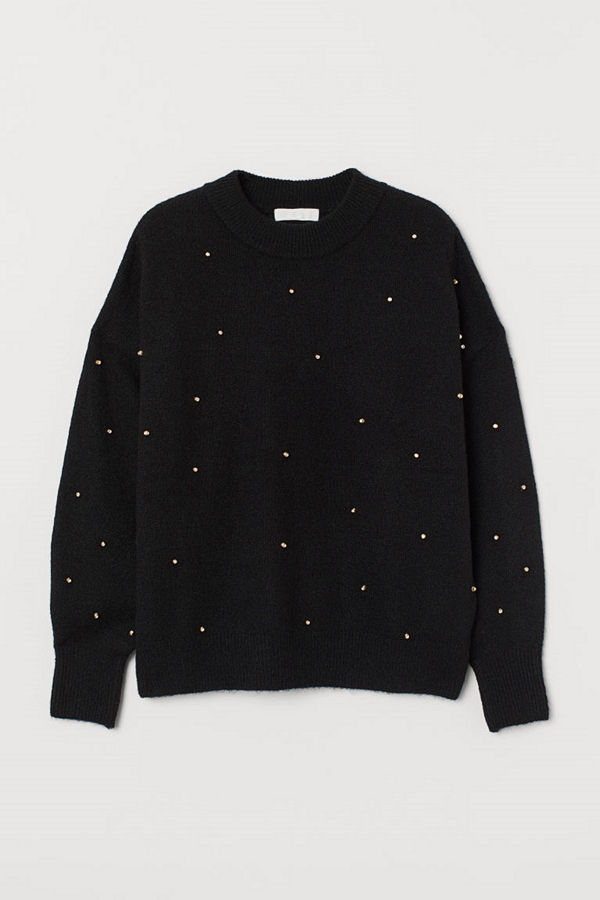 H&M Tröja med nitar svart