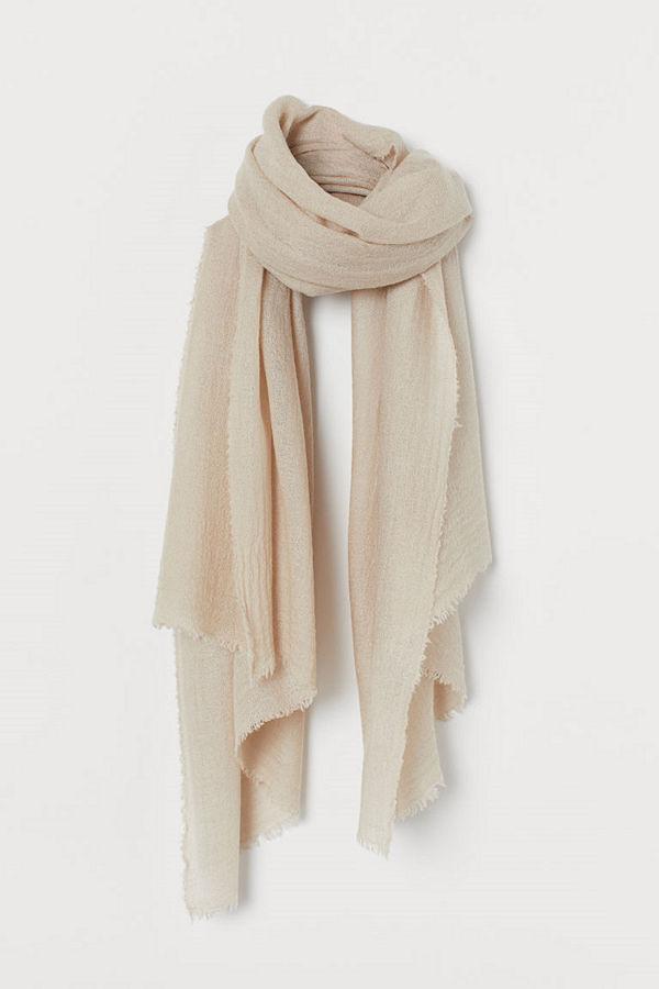 H&M Vävd scarf i ullmix brun