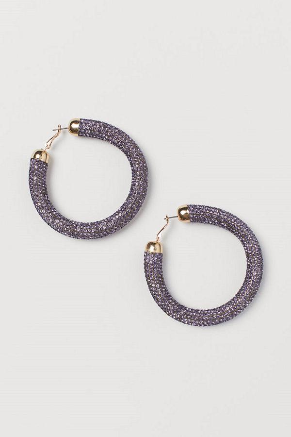 H&M Runda strassörhängen purple