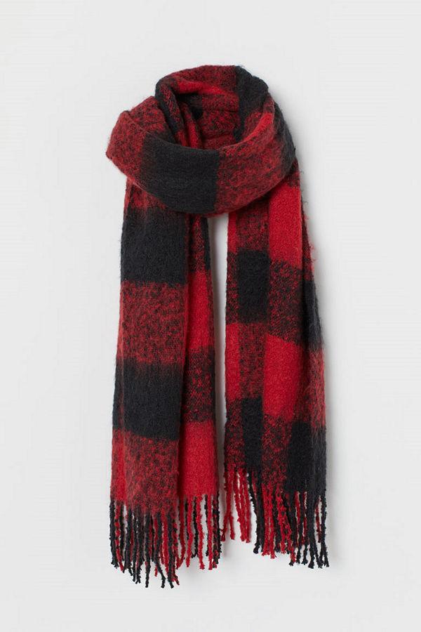 H&M Vävd scarf röd