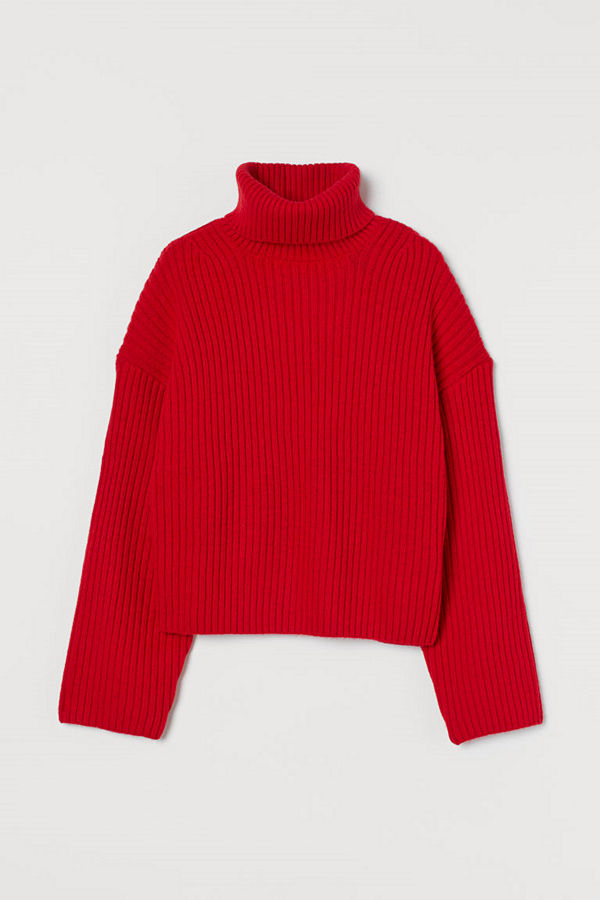 H&M Ribbstickad polotröja röd