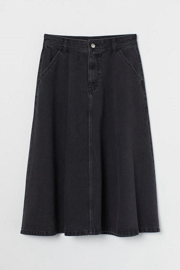 H&M Knälång jeanskjol svart