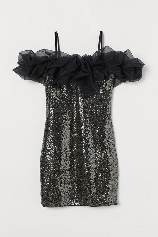 H&M Paljettklänning med mesh svart