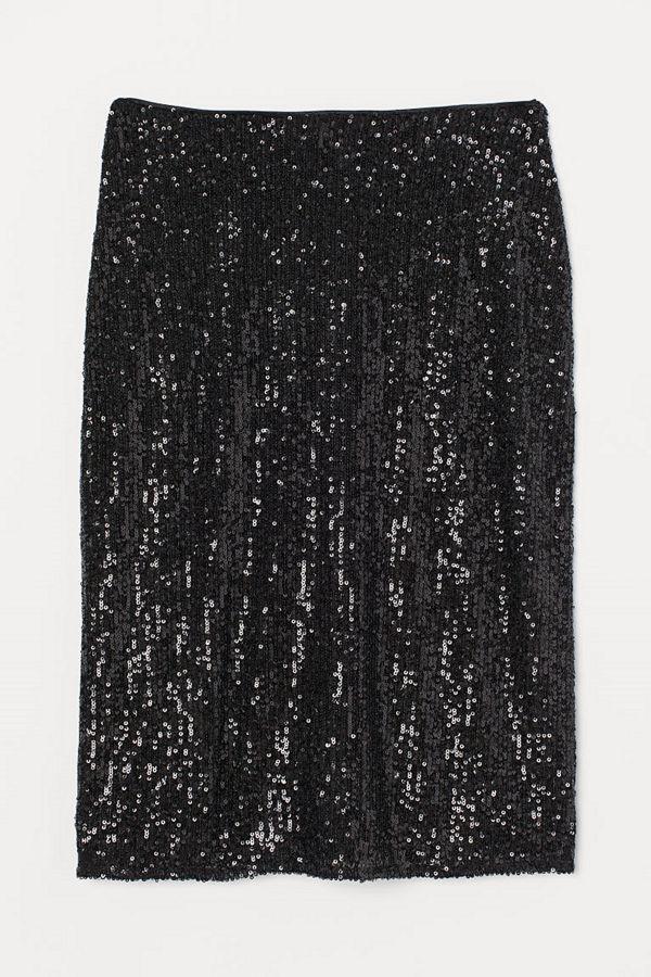 H&M Figurnära paljettkjol svart