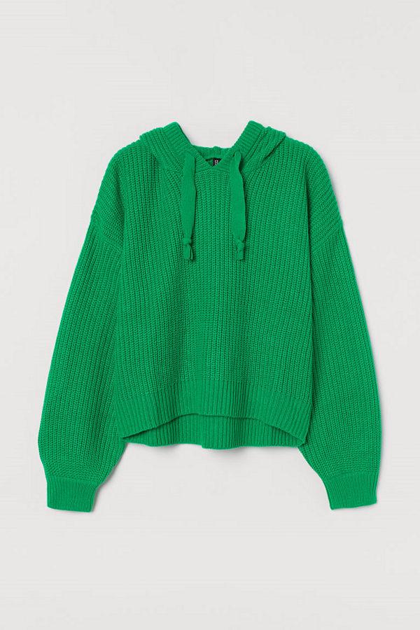H&M Stickad huvtröja grön