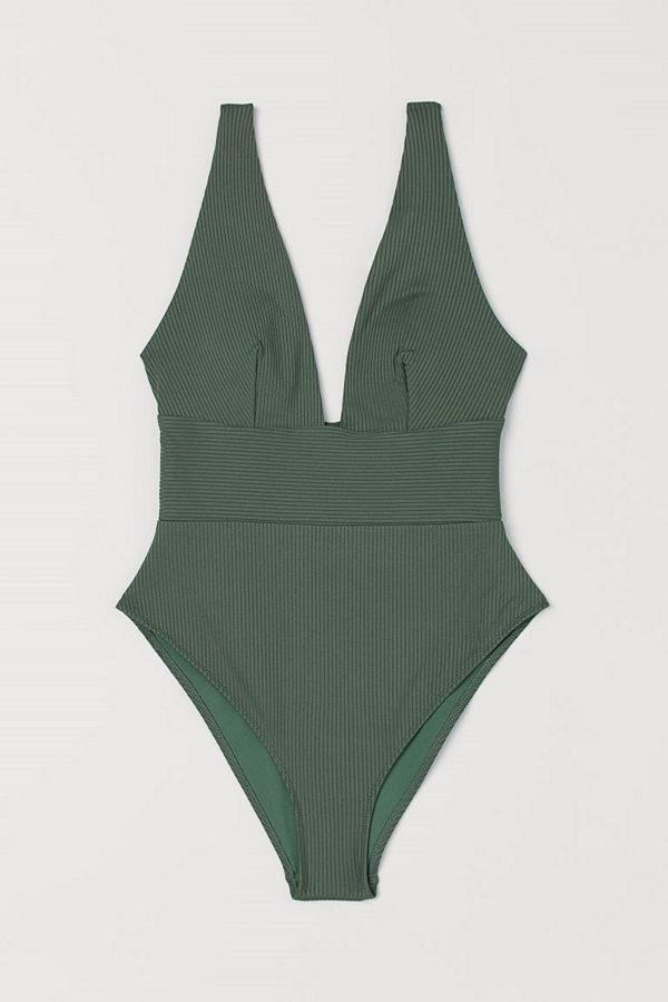 H&M Ribbad baddräkt High leg grön