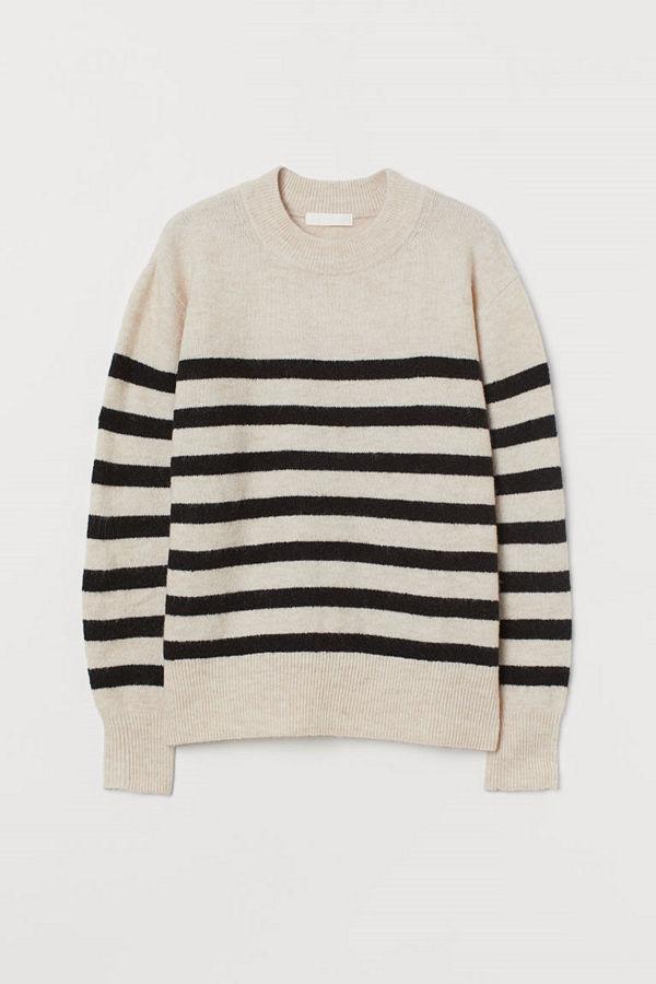 H&M Finstickad tröja beige