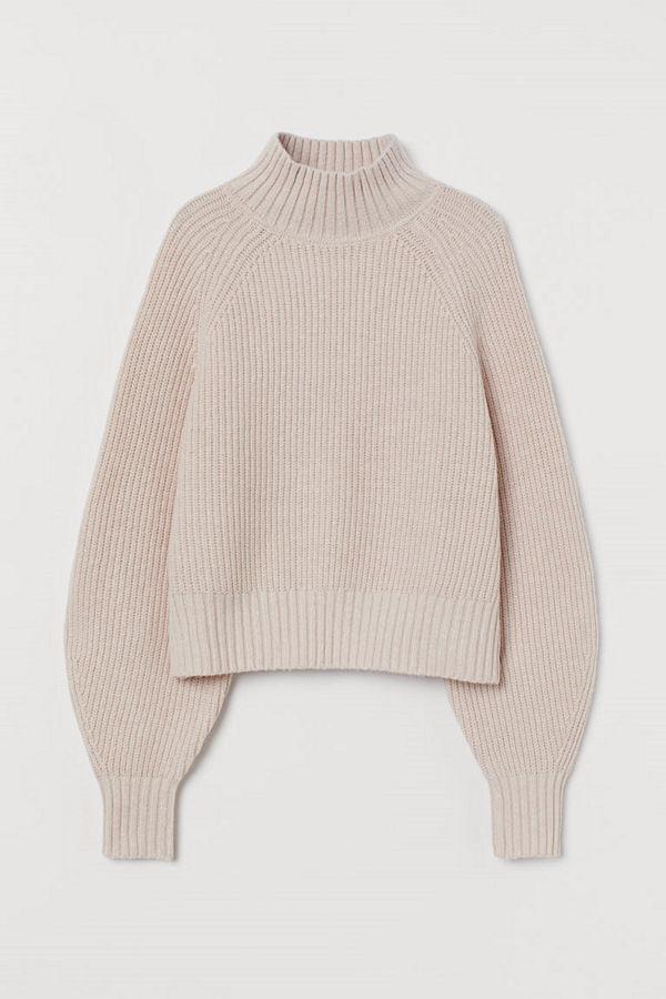 H&M Ribbstickad tröja i ullmix rosa