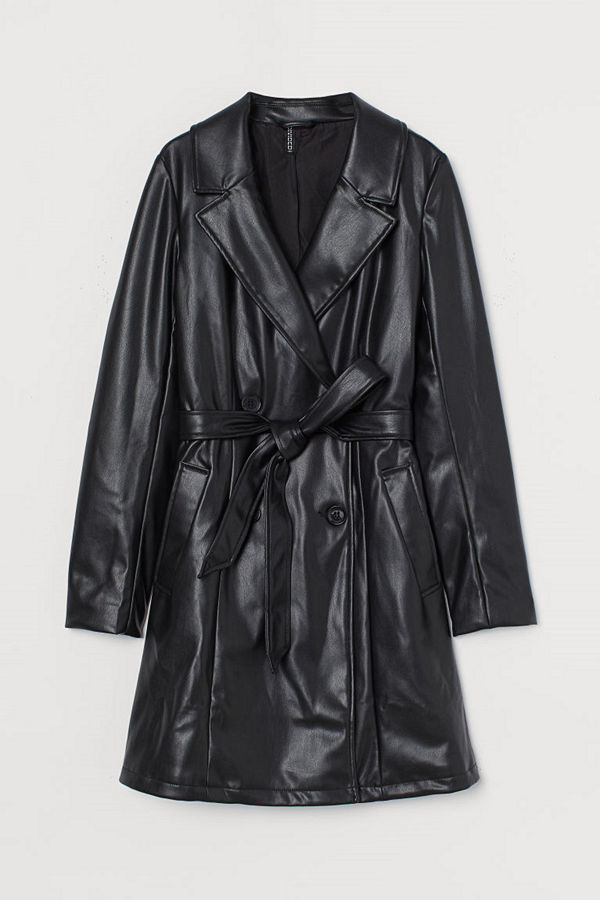 H&M Trenchcoat i fuskläder svart