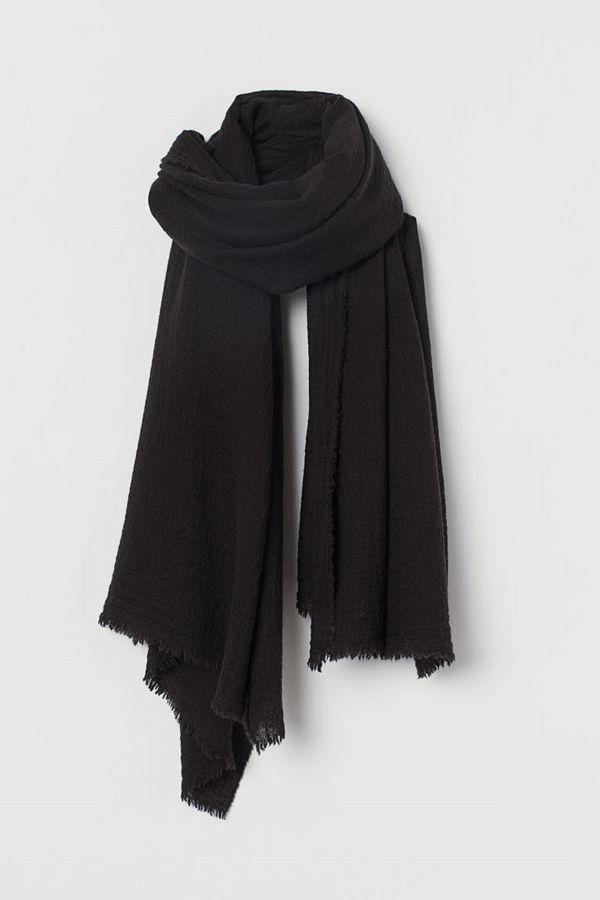 H&M Vävd scarf i ullmix svart