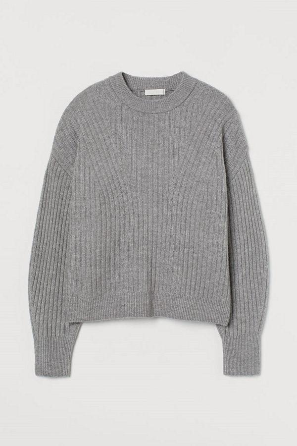 H&M Ribbstickad tröja grå