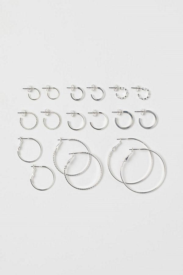 H&M 9 par runda örhängen silver