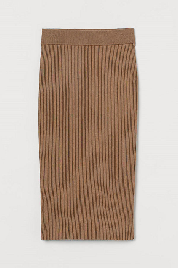 H&M Ribbstickad kjol beige