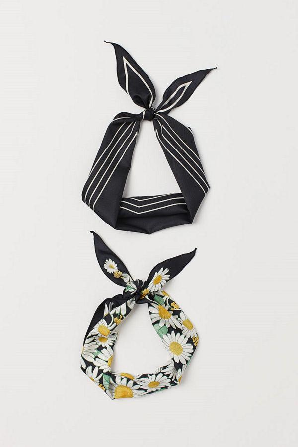 H&M 2-pack scarf/hårband svart