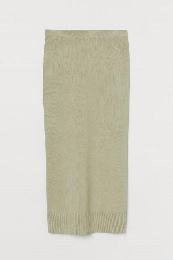 H&M Finstickad kjol grön