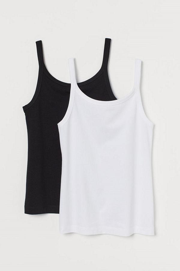 H&M 2-pack linne i bomull svart