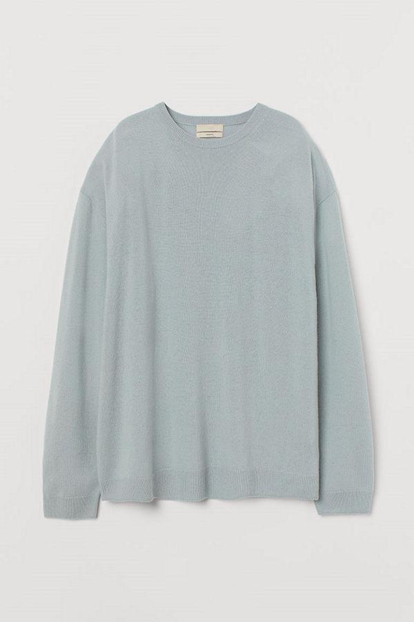 H&M Oversized tröja i kashmir blå