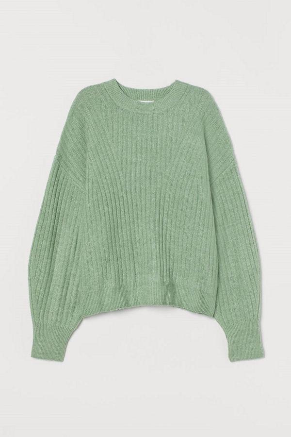 H&M Ribbstickad tröja grön
