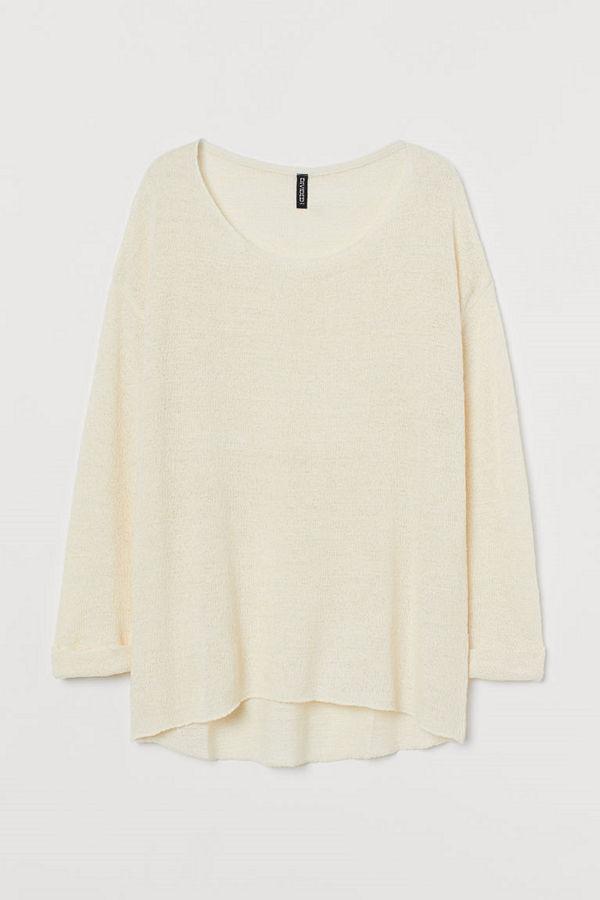 H&M Glesstickad tröja vit