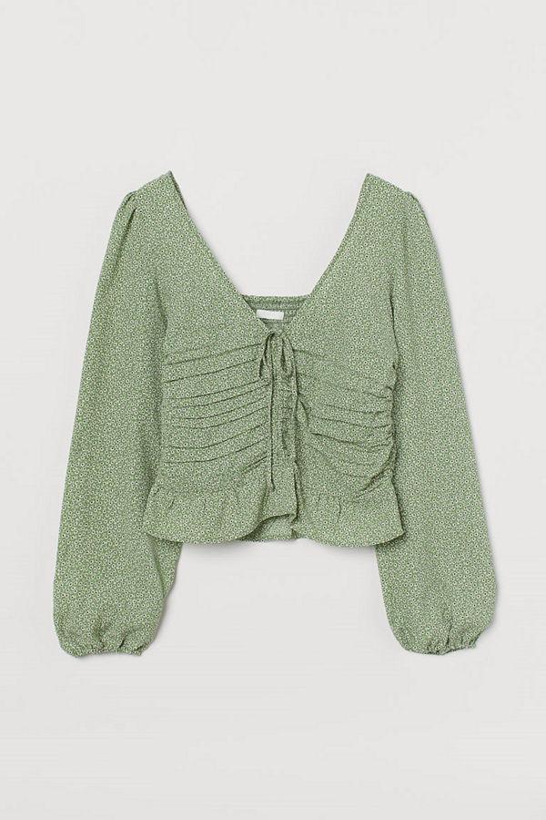 H&M Draperad blus grön