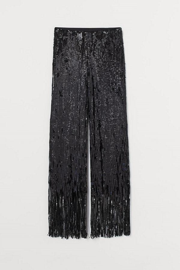 H&M byxor Nätbyxa med paljetter svart
