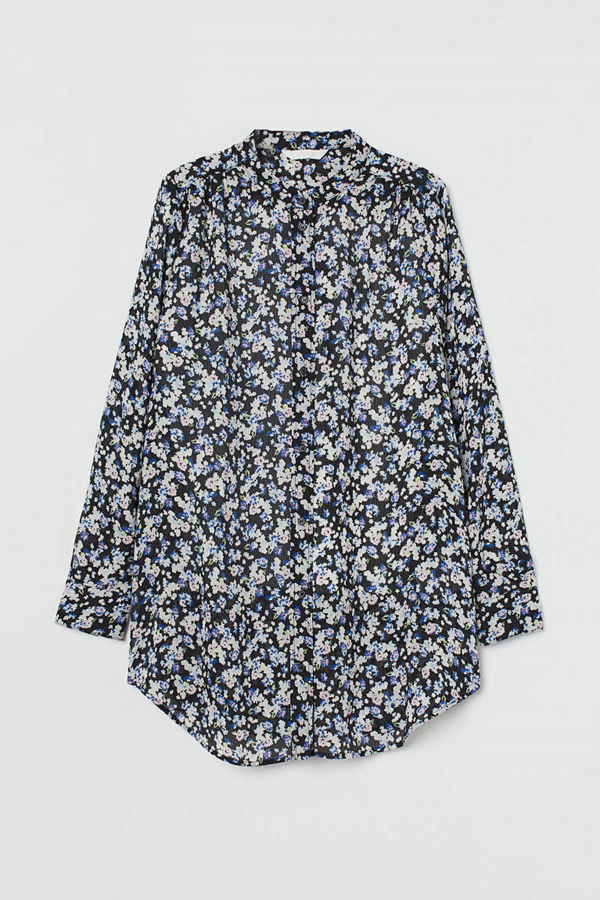H&M Mönstrad blus svart