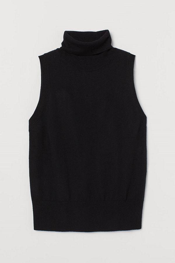 H&M Polotopp i kashmirmix svart