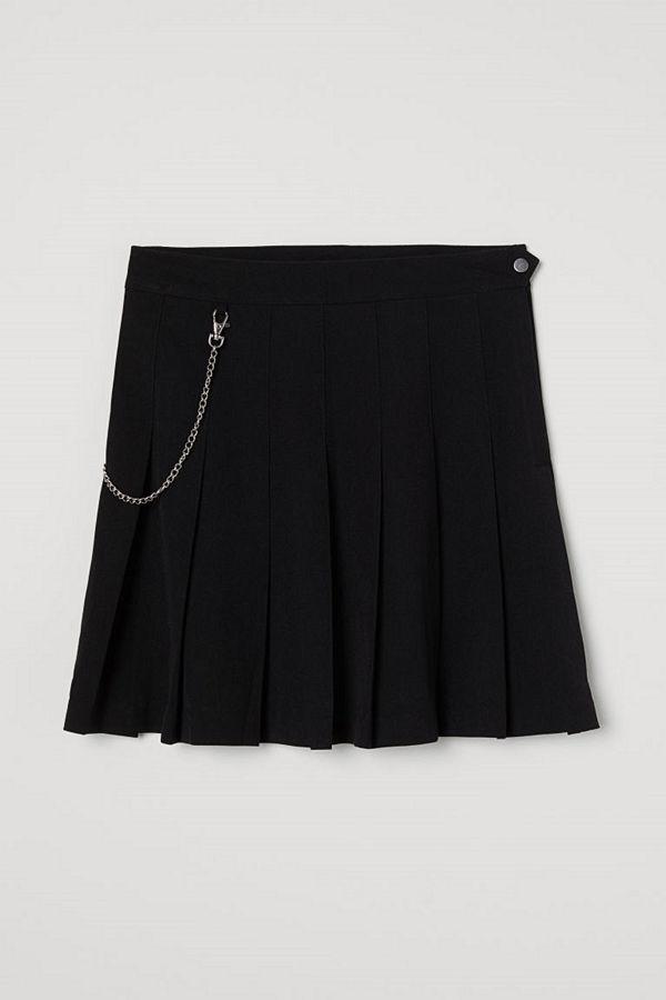 H&M Veckad kjol svart