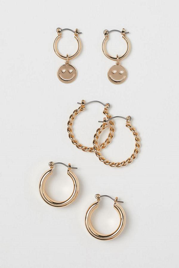 H&M 3 par örhängen guld