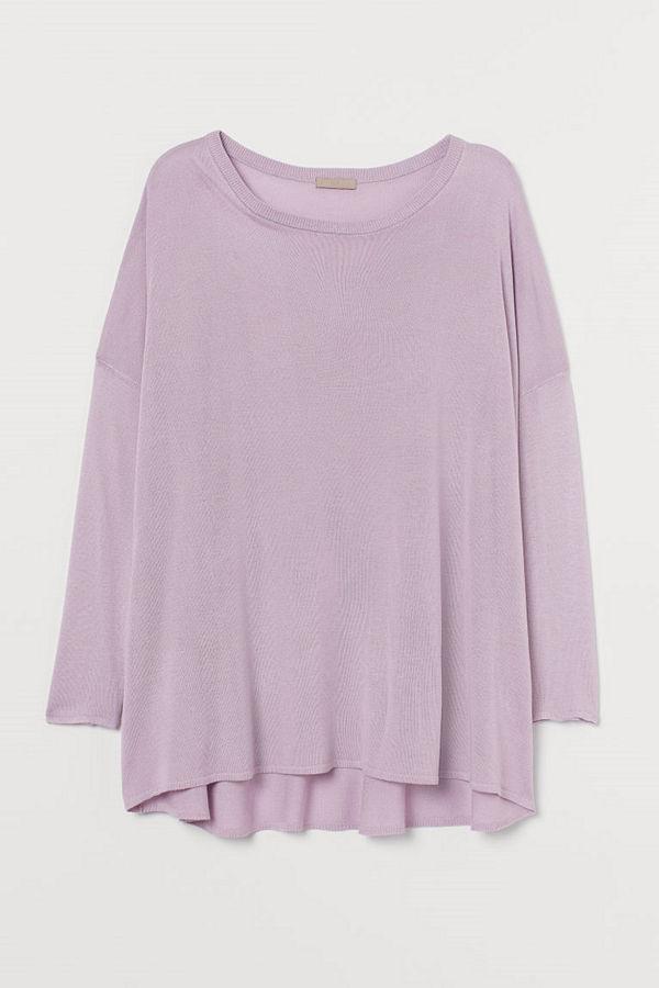 H&M H & M+ Finstickad tröja lila