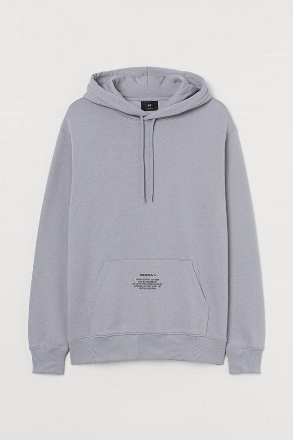 H&M Huvtröja med texttryck grå