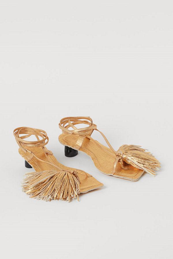 H&M Metallcoatade sandaletter guld