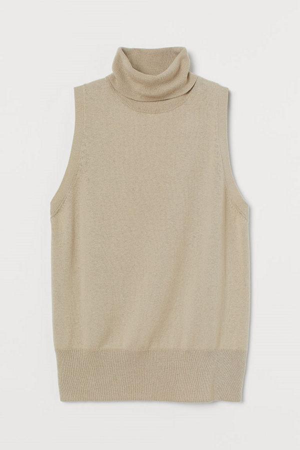 H&M Polotopp i kashmirmix beige