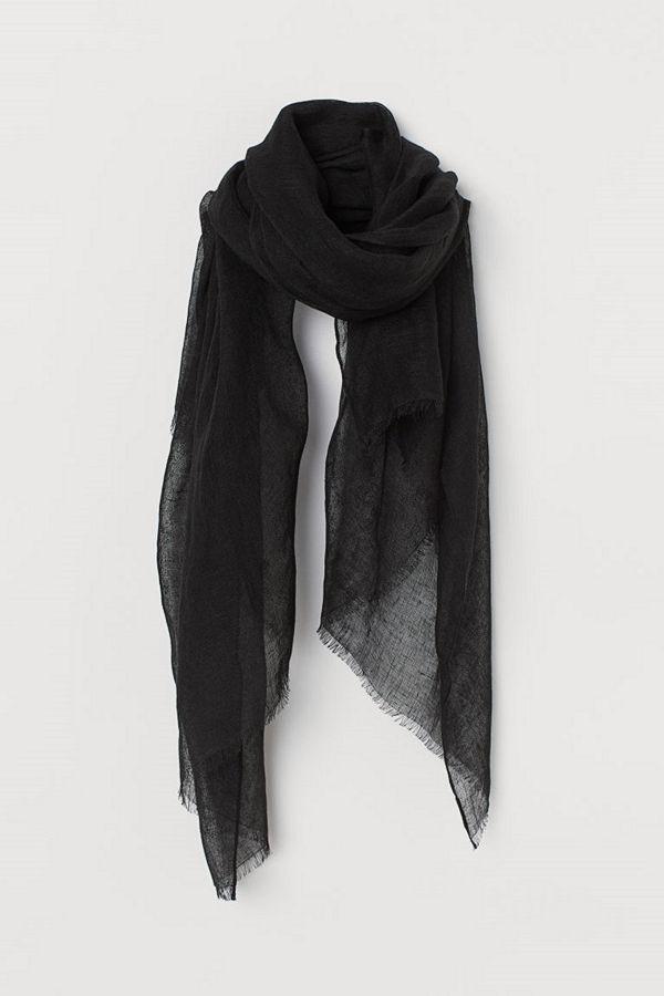 H&M Halsduk i linne svart