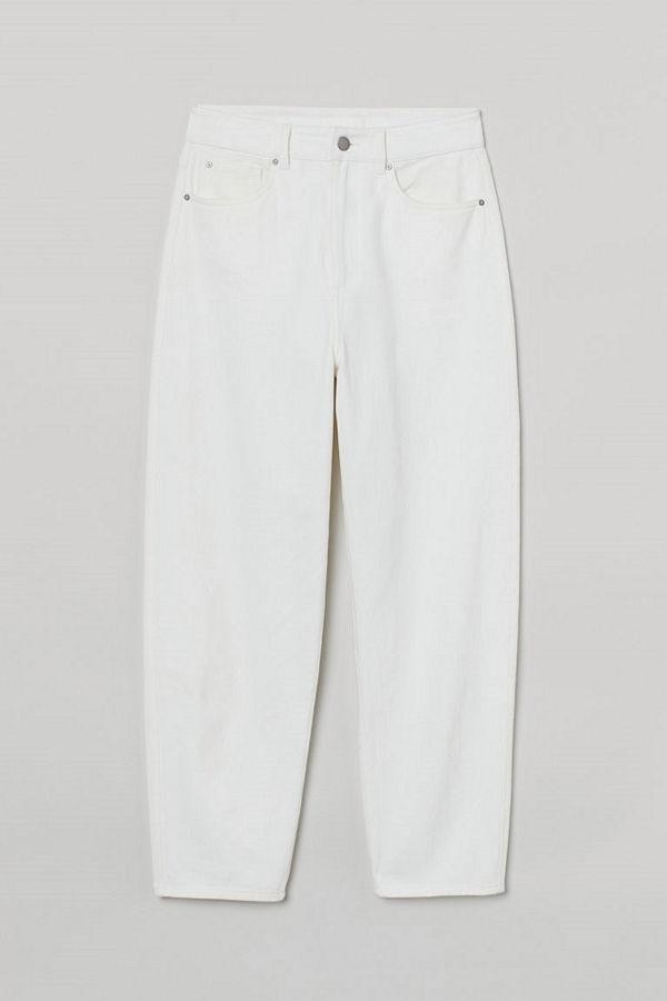 H&M vita byxor Ankellång twillbyxa vit