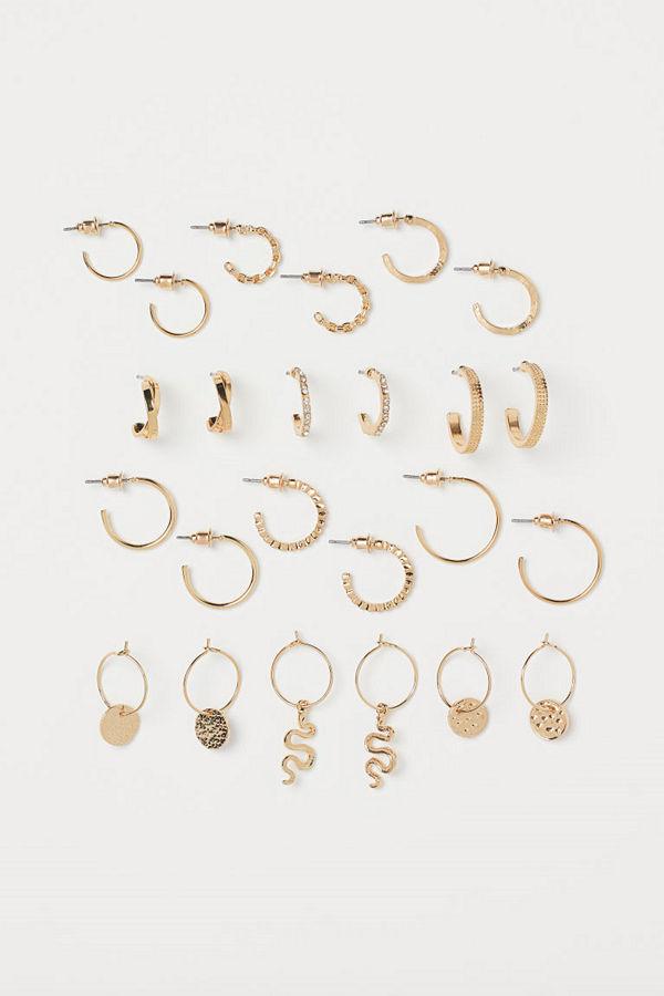 H&M 12 par örhängen guld
