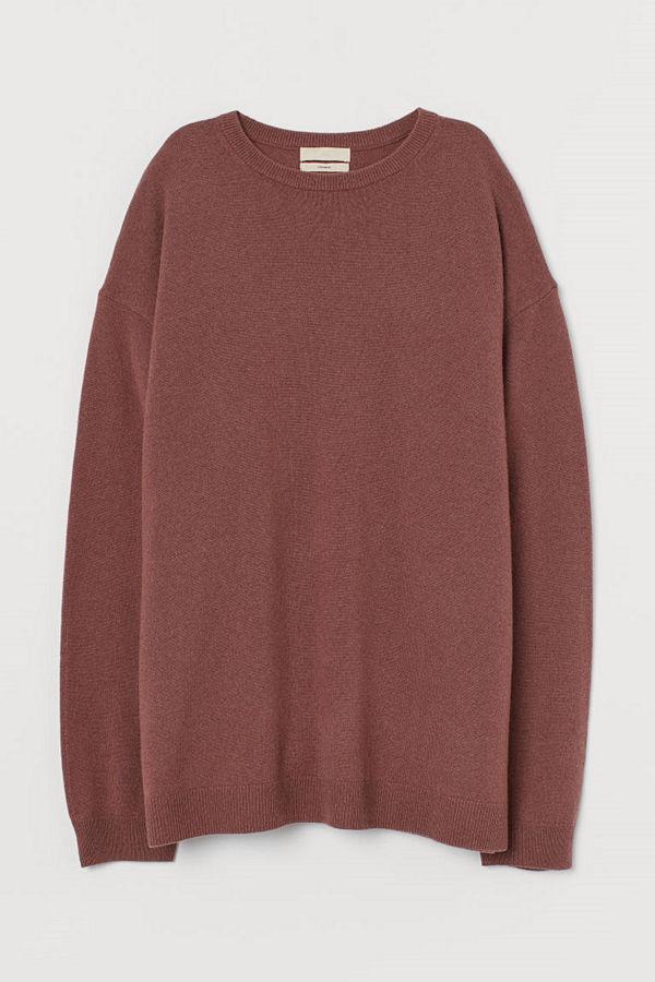 H&M Oversized tröja i kashmir röd