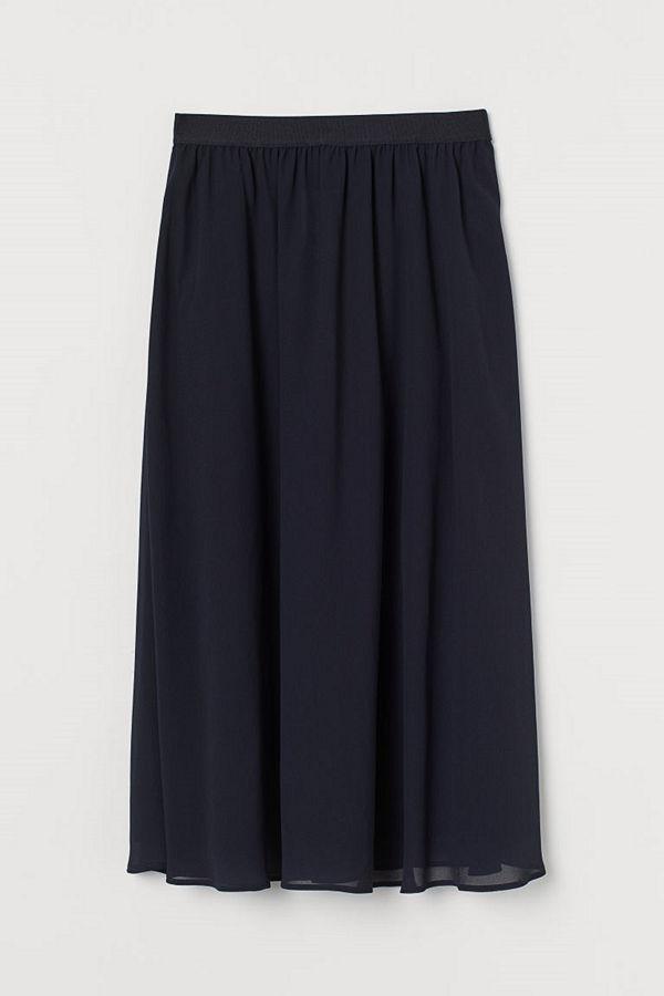 H&M Vadlång chiffongkjol blå