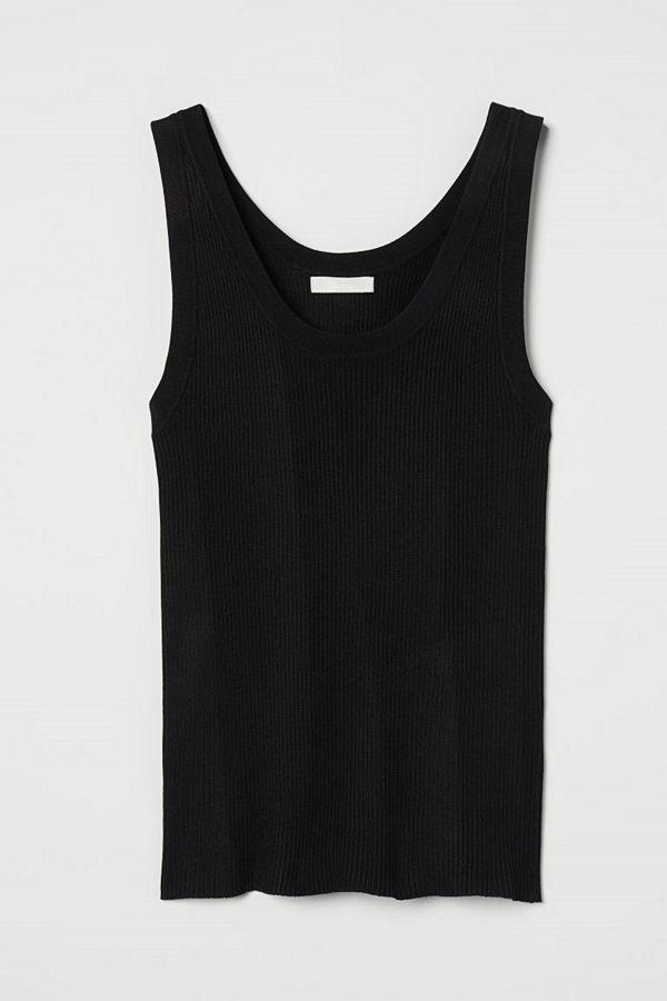 H&M Ribbstickad tanktop svart