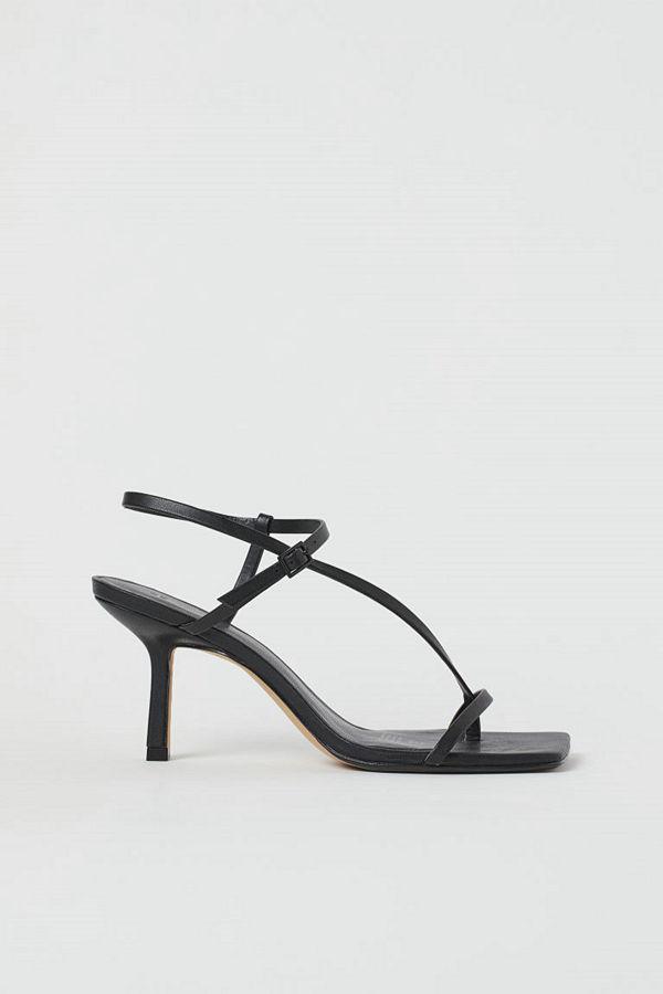 H&M Sandaletter med kantig tå svart