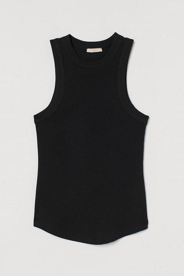 H&M Ribbad tanktop svart