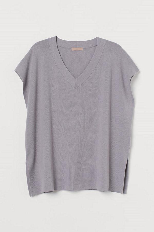 H&M H & M+ V-ringad slipover grå