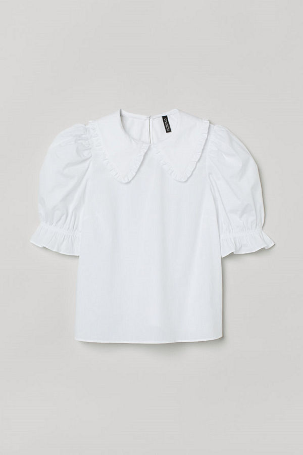 H&M Blus med krage vit
