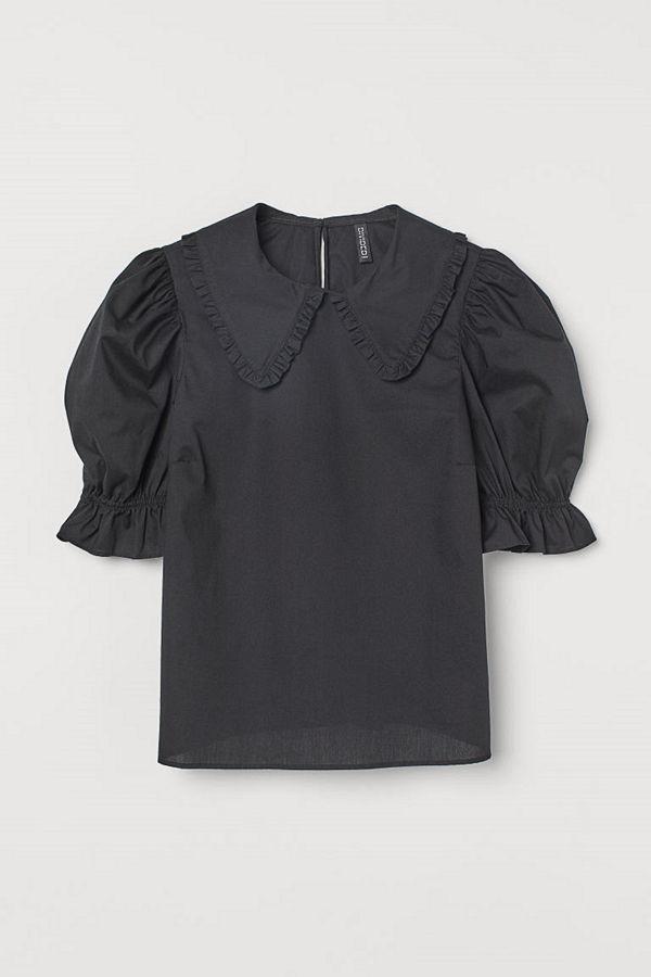 H&M Blus med krage svart