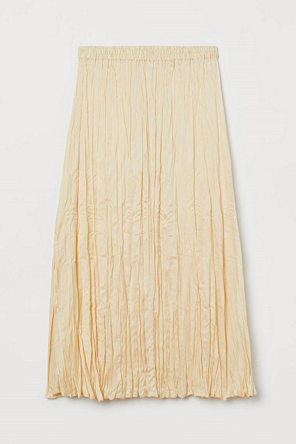 H&M Krinklad kjol gul