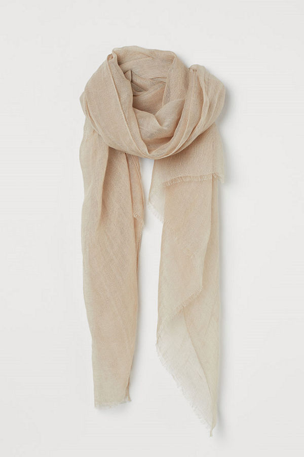 H&M Halsduk i linne beige