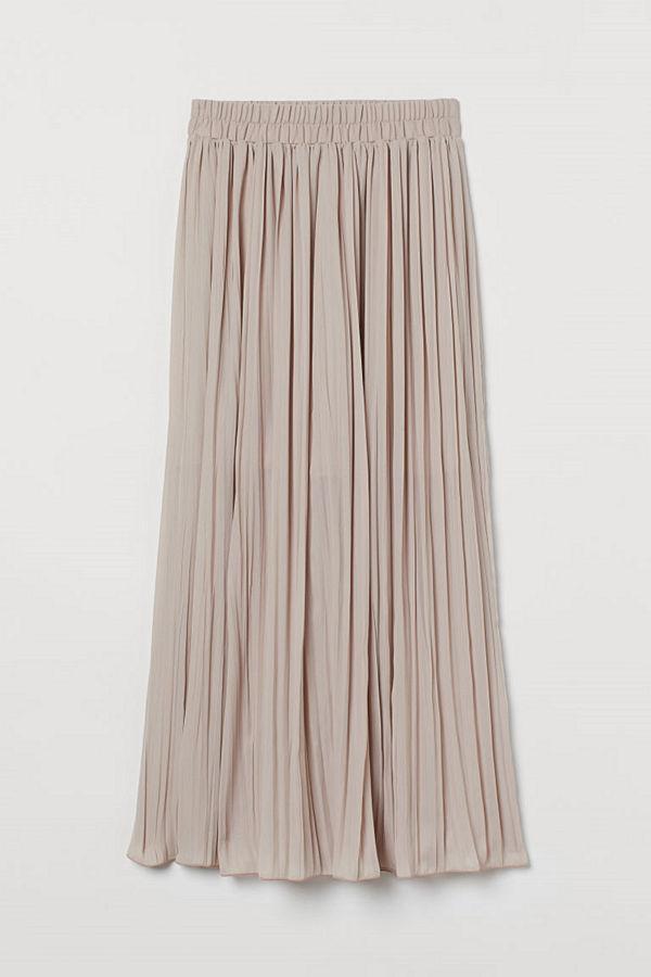 H&M Plisserad maxikjol beige